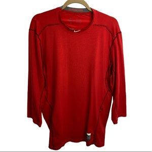 NikePro Combat Red Compression Jersey Athletic Top